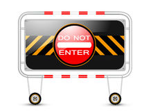 Barrier with traffic sign Stock Photo