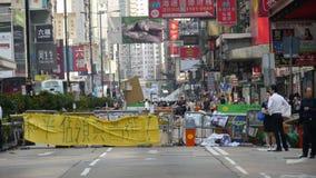 Barriera alla rivoluzione dell'ombrello in Monkok, Hong Kong Fotografia Stock