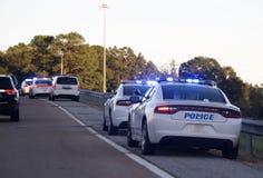 Barriera Check Point della polizia immagini stock libere da diritti
