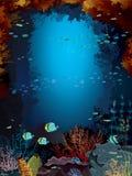 Barriera corallina e scuola del pesce. royalty illustrazione gratis