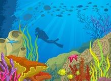Barriera corallina ed operatore subacqueo colorati fumetto illustrazione vettoriale