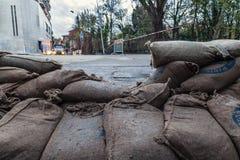 Barriera dei sacchetti di sabbia Fotografia Stock Libera da Diritti