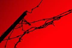 Barriera di Barbwire su colore rosso fotografia stock libera da diritti