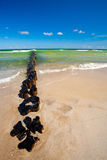 Barriera di erosione di spiaggia Immagine Stock
