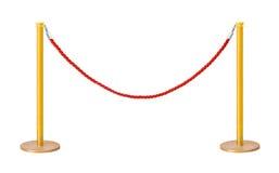 Barriera dorata della corda del velluto Fotografia Stock