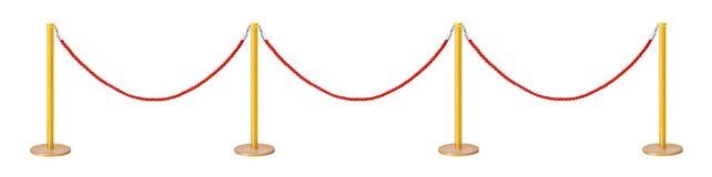 Barriera dorata della corda del velluto Fotografia Stock Libera da Diritti