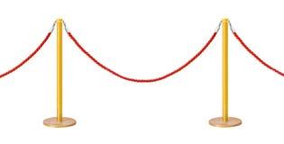 Barriera dorata della corda del velluto Immagine Stock