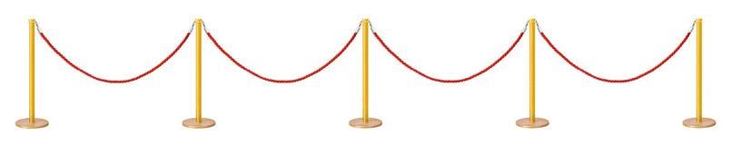 Barriera dorata della corda del velluto Fotografie Stock Libere da Diritti
