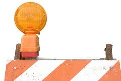 Barriera e lampeggiatore Fotografia Stock