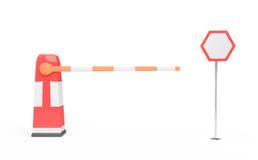Barriera e segnale stradale Fotografia Stock