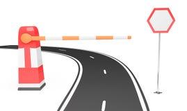 Barriera e segnale stradale vicino alla strada Fotografie Stock