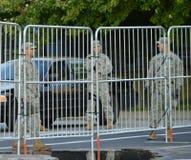 Barriere dell'esercito durante i 2016 RNC a Cleveland Fotografia Stock Libera da Diritti