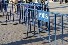 Barriere della polizia Fotografie Stock Libere da Diritti