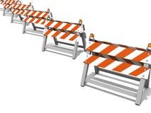 Barriere della strada della costruzione in una riga Fotografia Stock Libera da Diritti
