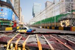 Barriere di sicurezza installate avanti per la corsa di Macao G Fotografie Stock Libere da Diritti