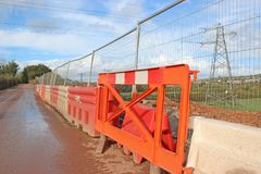 Barriers on a construction site. Barriers and fence on a road construction Stock Image