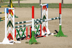 Barriers on the ground for jumping horses as a background Royalty Free Stock Photography