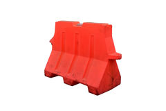 Barriers. Plastic barrier blocking the road isolated on white background with clipping path Royalty Free Stock Image