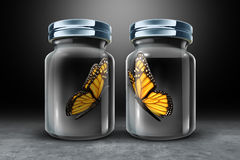 Barriers To Communication. And physical barrier concept as two butterflies in separate closed glass as a jars as a 3D illustration Royalty Free Stock Images