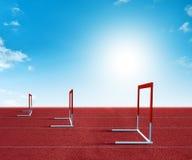 Barriers on treadmill stadium Stock Photos