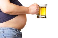 Barriga e cerveja Fotografia de Stock