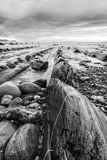 Barrika beach in black and white Stock Image