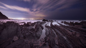 Barrika beach at night Royalty Free Stock Images
