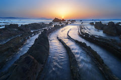 Barrika beach at sunset Royalty Free Stock Image