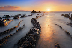 Barrika beach at sunset royalty free stock image