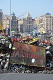 Barrikad av Maidan i den ukrainska huvudstaden Arkivfoto