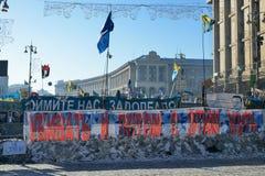 Barrikad i den ukrainska huvudstaden Kiev Royaltyfri Foto