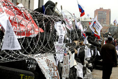 Barrikaden in Donetsk Stockfoto