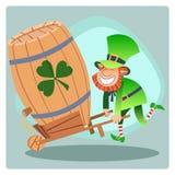 Barril afortunado do duende do verde de Patrick do dia da cerveja Imagem de Stock Royalty Free