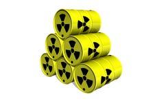 Barril amarillo con la muestra de la radiación Fotos de archivo