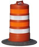 Barril anaranjado de la construcción de carreteras aislado Imagenes de archivo