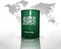 Barril con la bandera de la Arabia Saudita Foto de archivo