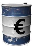 Barril con un símbolo del euro girado Foto de archivo libre de regalías
