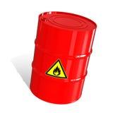 Barril con una señal de peligro Foto de archivo libre de regalías