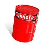Barril con una señal de peligro Imágenes de archivo libres de regalías