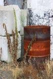 Barril de aceite aherrumbrado Fotos de archivo