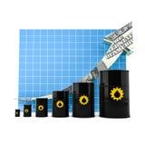Barril de aceite con el gráfico de la flecha. Foto de archivo libre de regalías