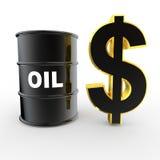 barril de aceite 3d y símbolo de oro del dólar Imagen de archivo
