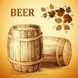 Barril de cerveja para a etiqueta, pacote tambor do vintage Lúpulo ilustração do vetor