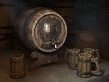 Barril de cerveza con los círculos en el sótano Imagen de archivo