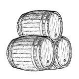 Barril de cerveza del vino del grabado Imagenes de archivo