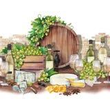 Barril de la acuarela, caja de uvas, copas de vino y anís de las botellas, del queso y de estrella Ilustración del Vector