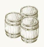 Barril de madera del dibujo libre illustration