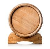 Barril de madera en el soporte Imagen de archivo libre de regalías