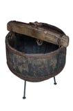 Barril de madera solated en el fondo blanco Foto de archivo libre de regalías