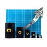 Barril de petróleo con el gráfico de la flecha. Fotografía de archivo libre de regalías